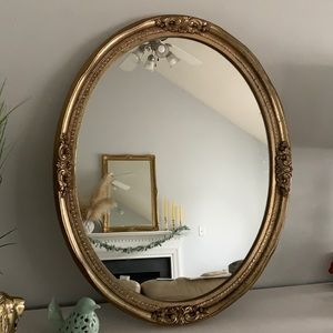 Vintage Oval Gold Mirror glam Victorian classic hanging wall 31 x 24 1/2 inches